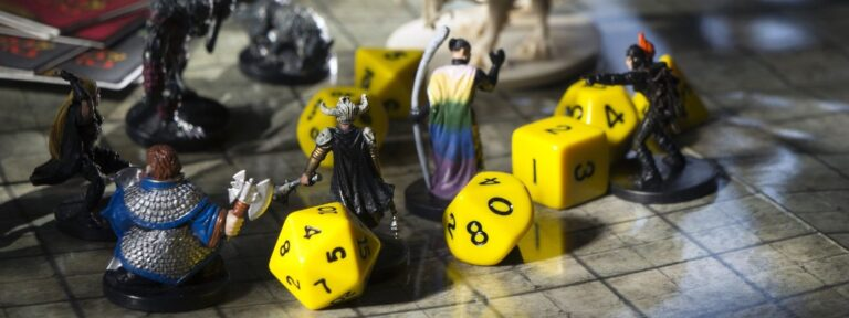 DnD Session Zero Dice and Miniatures