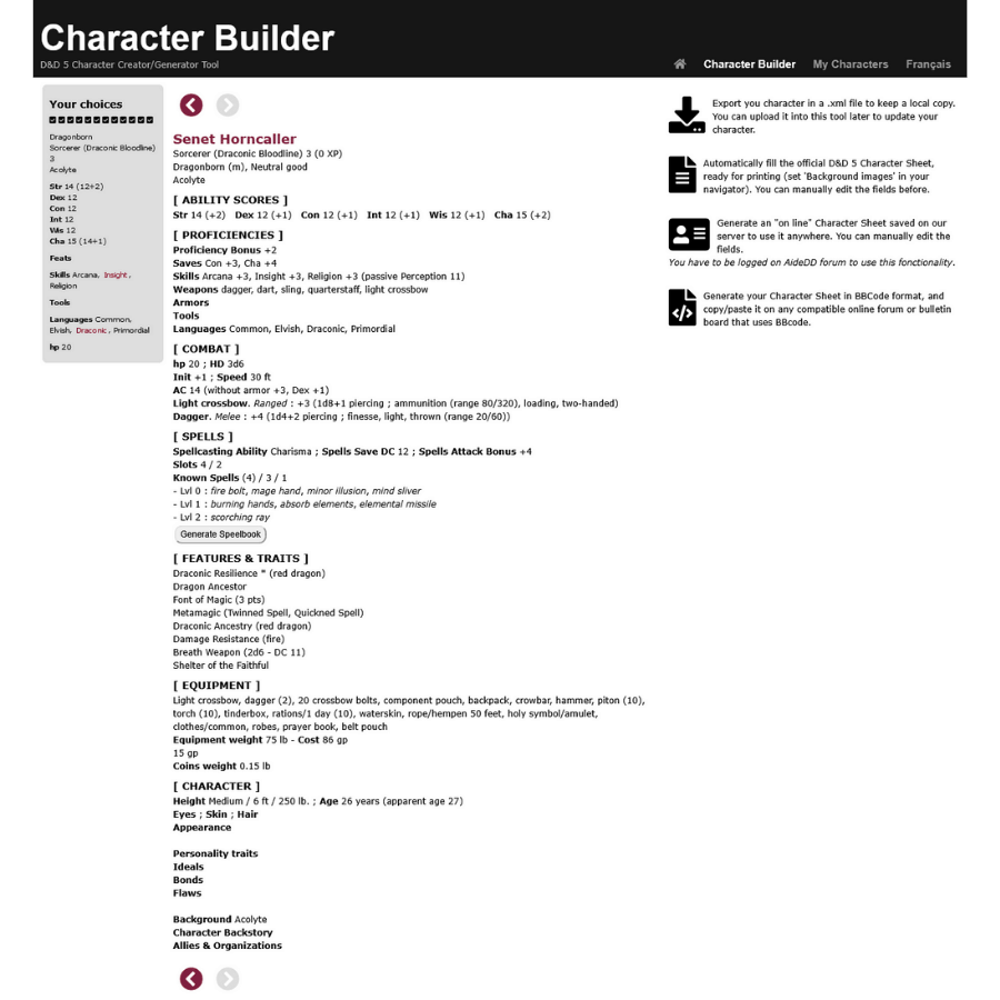 Aidedd Character Builder Sample Output