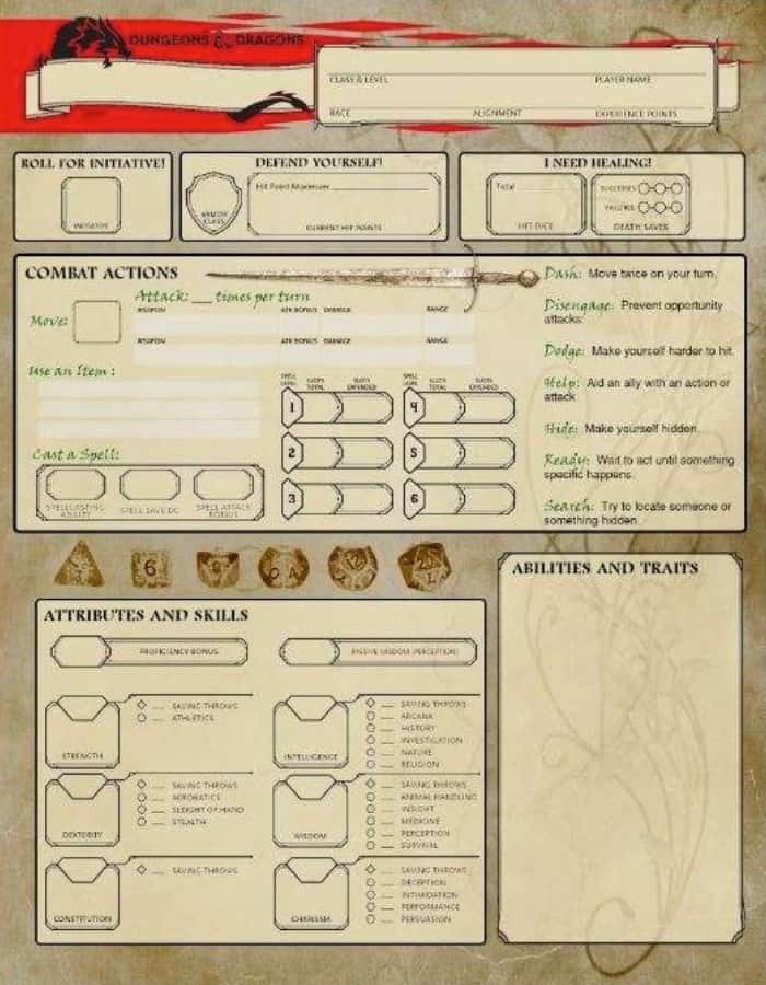 Beginner Friendly Character Sheet