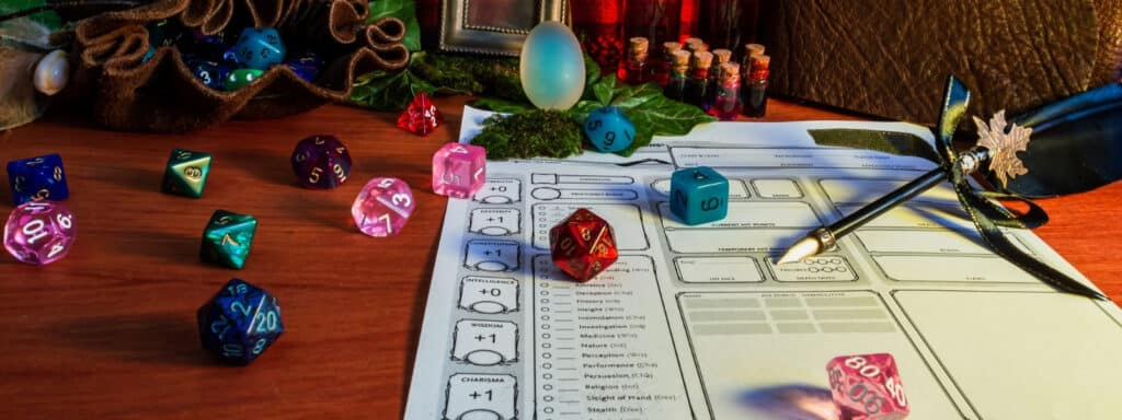 DnD Character Sheet with Pen and Dice