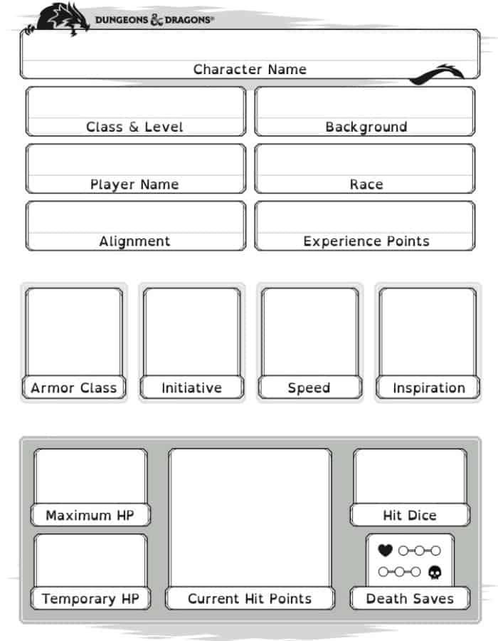 Dyslexic Friendly Character Sheet