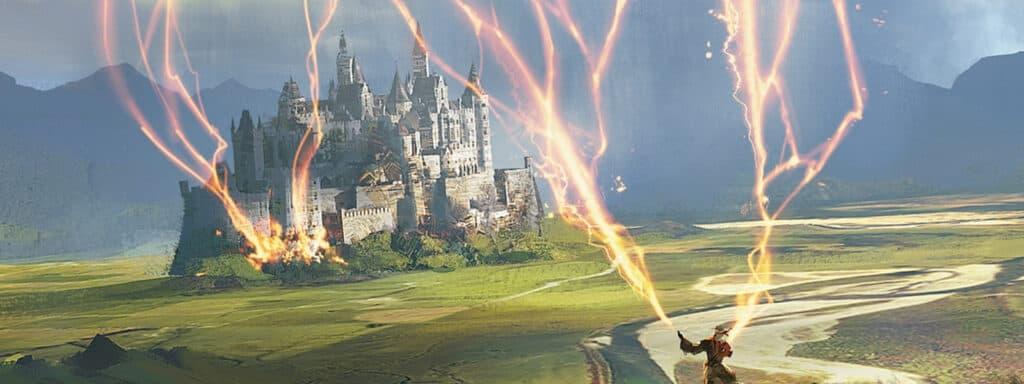 Wizard Sending Lightning Bolts To Castle